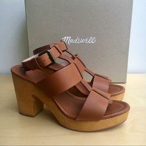 Madewell Ankle-Strap Platform Sandals Wood Base